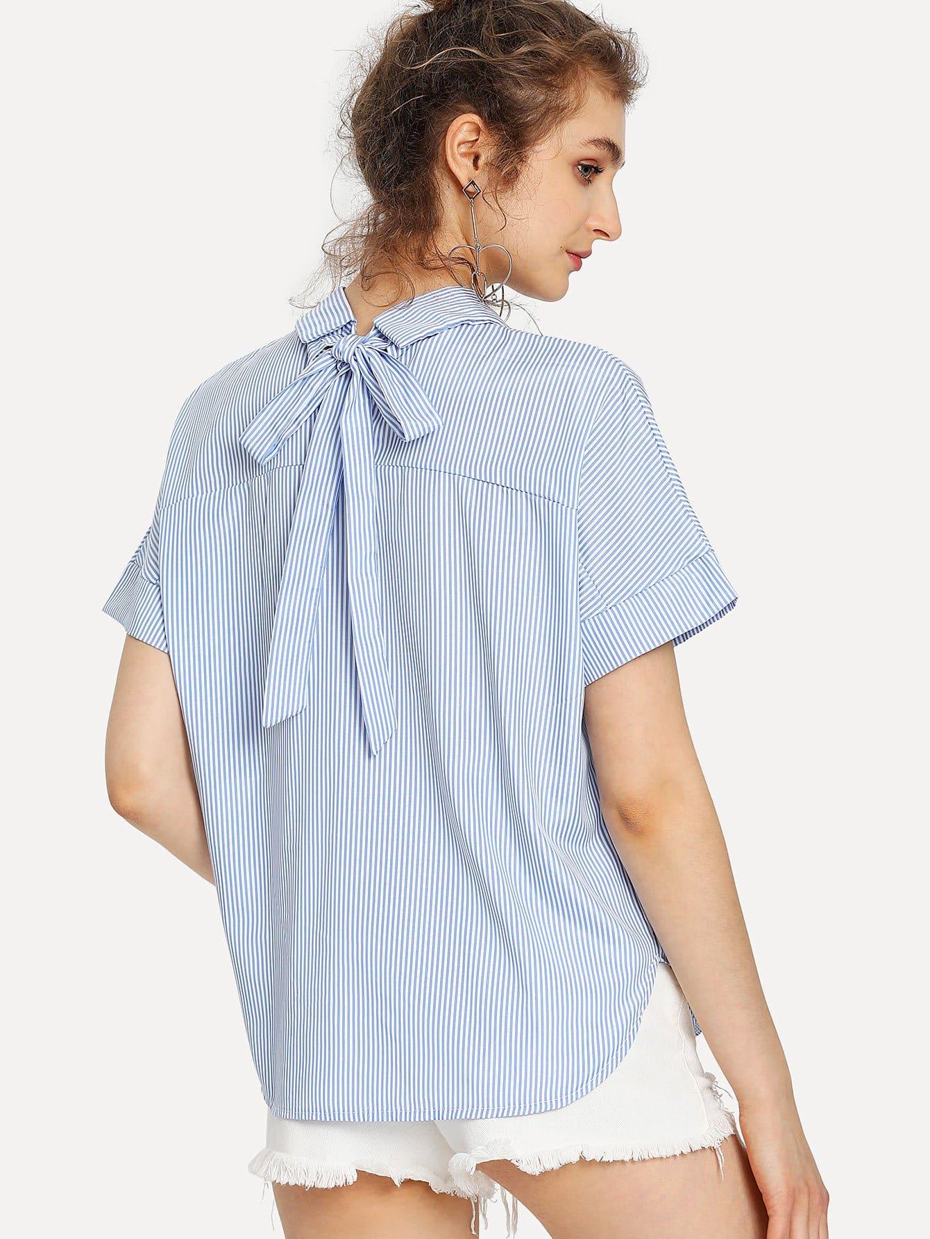 Curved Hem Tie Back Striped Blouse блузки a karina блузка