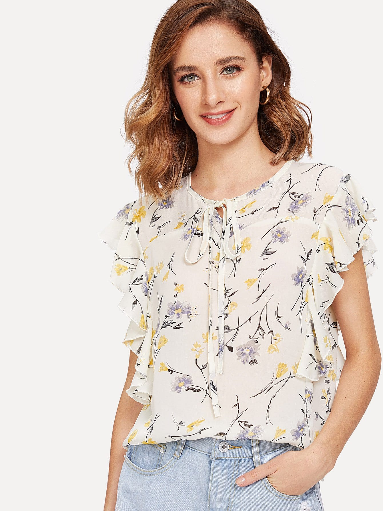 Tie Front Floral Print Blouse self tie front floral print blouse