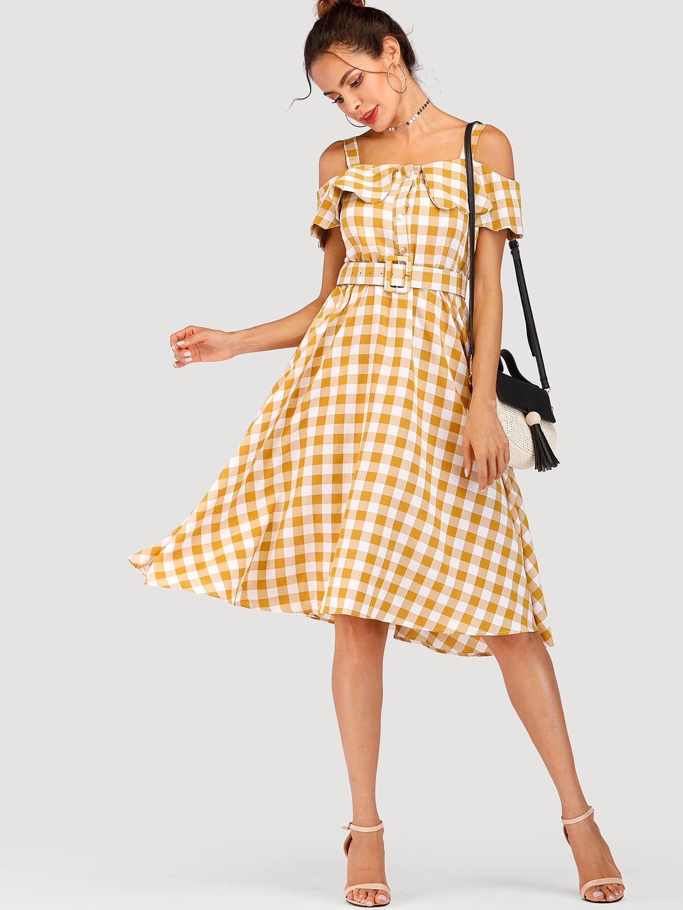 Check Plaid Open Shoulder Belted Dress chic off the shoulder plaid belted dress for women