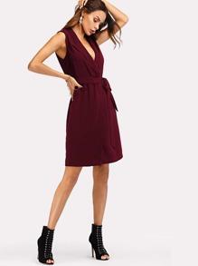 Shawl Collar Belted Wrap Dress