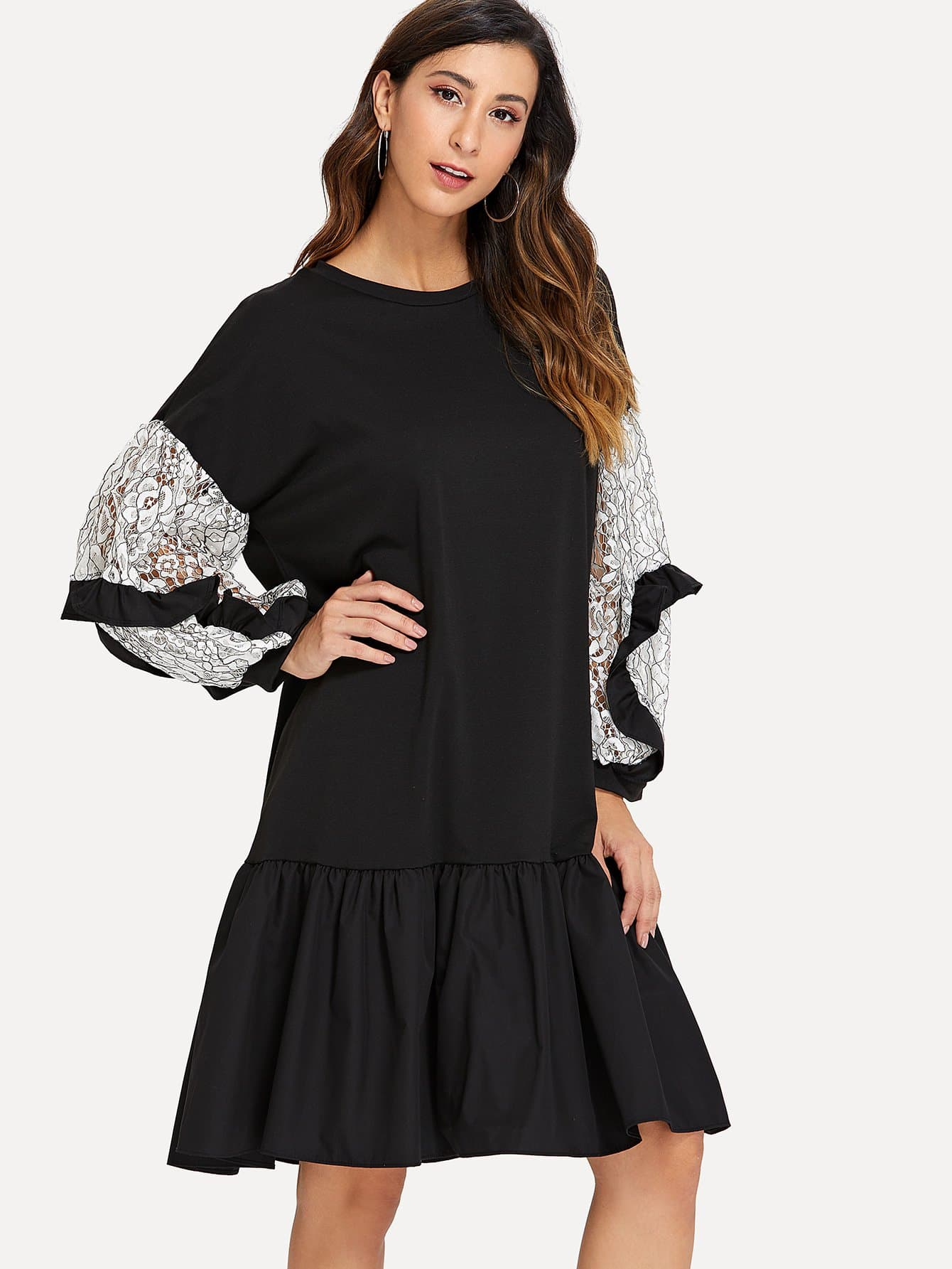 Contrast Lace Sleeve Ruffle Hem Dress lace contrast sleeve hanky hem dress