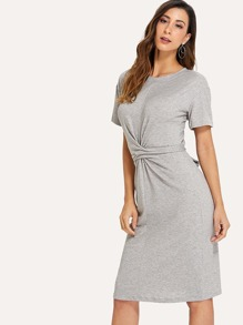 Knot Back Solid Dress