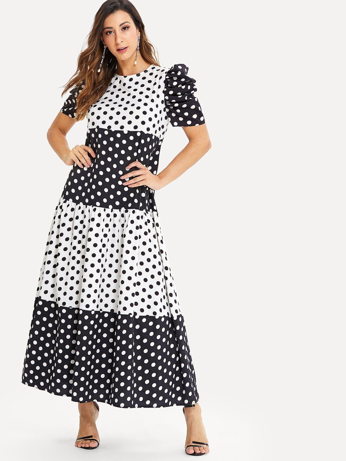 Купить Платье в горошек с широкими рукавами, Gabe, SheIn