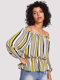 Ruffle Hem Striped Bardot Top