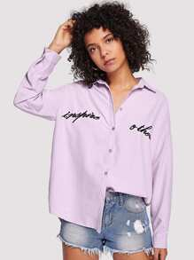 Letter Embroidery Blouse