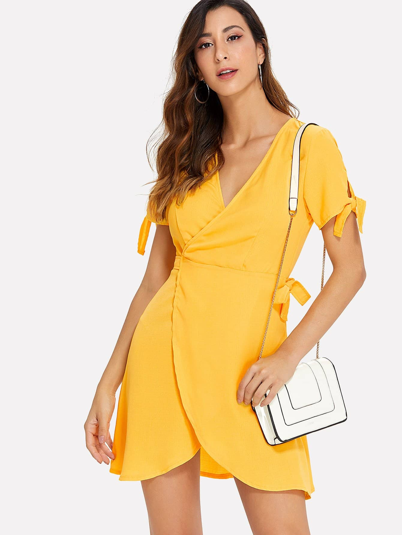 Knot Cuff Solid Wrap Dress wrap knot swimsuit