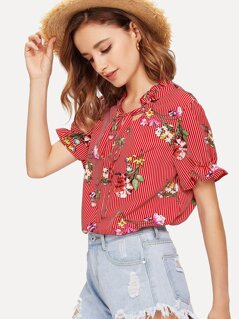 Stripe & Flower Print Frill Neck Blouse