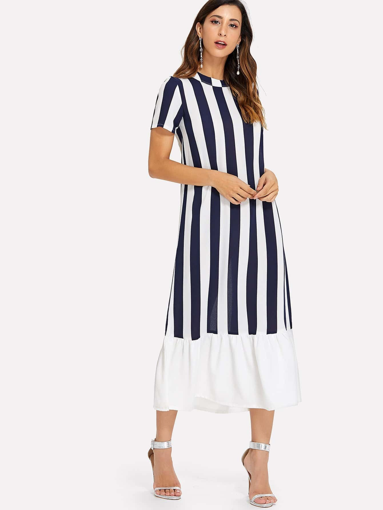 Contrast Striped Pep Hem Dress contrast striped button back pep hem blouse