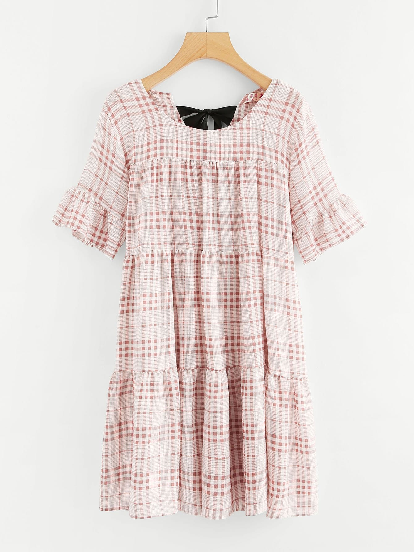 Self Tie Back Plaid Dress zip back fit and flared plaid dress