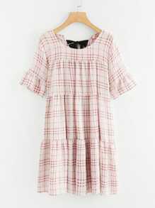 Self Tie Back Plaid Dress