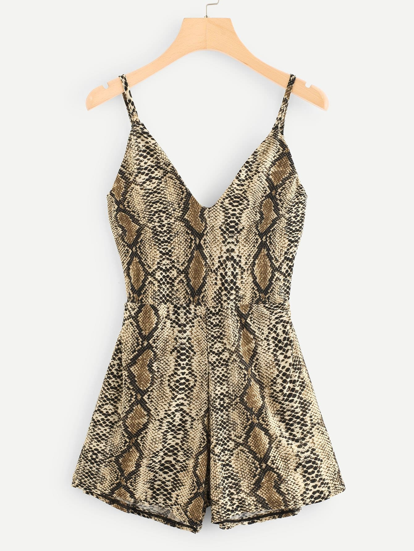 Lace Up Back Snakeskin Jumpsuit lace up open back flare jumpsuit