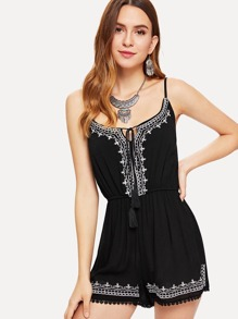 Tassel Tie Front Embroidered Jumpsuit
