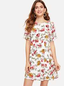 Floral Print Frill Trim Cuff Dress