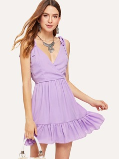 Tied Strap Ruffle Wrap Dress