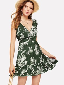 Tied Strap Ruffle Wrap Dress