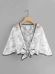 Contrast Lace Trim Crop Kimono