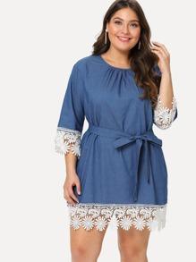 Lace Trim Self Belted Dress