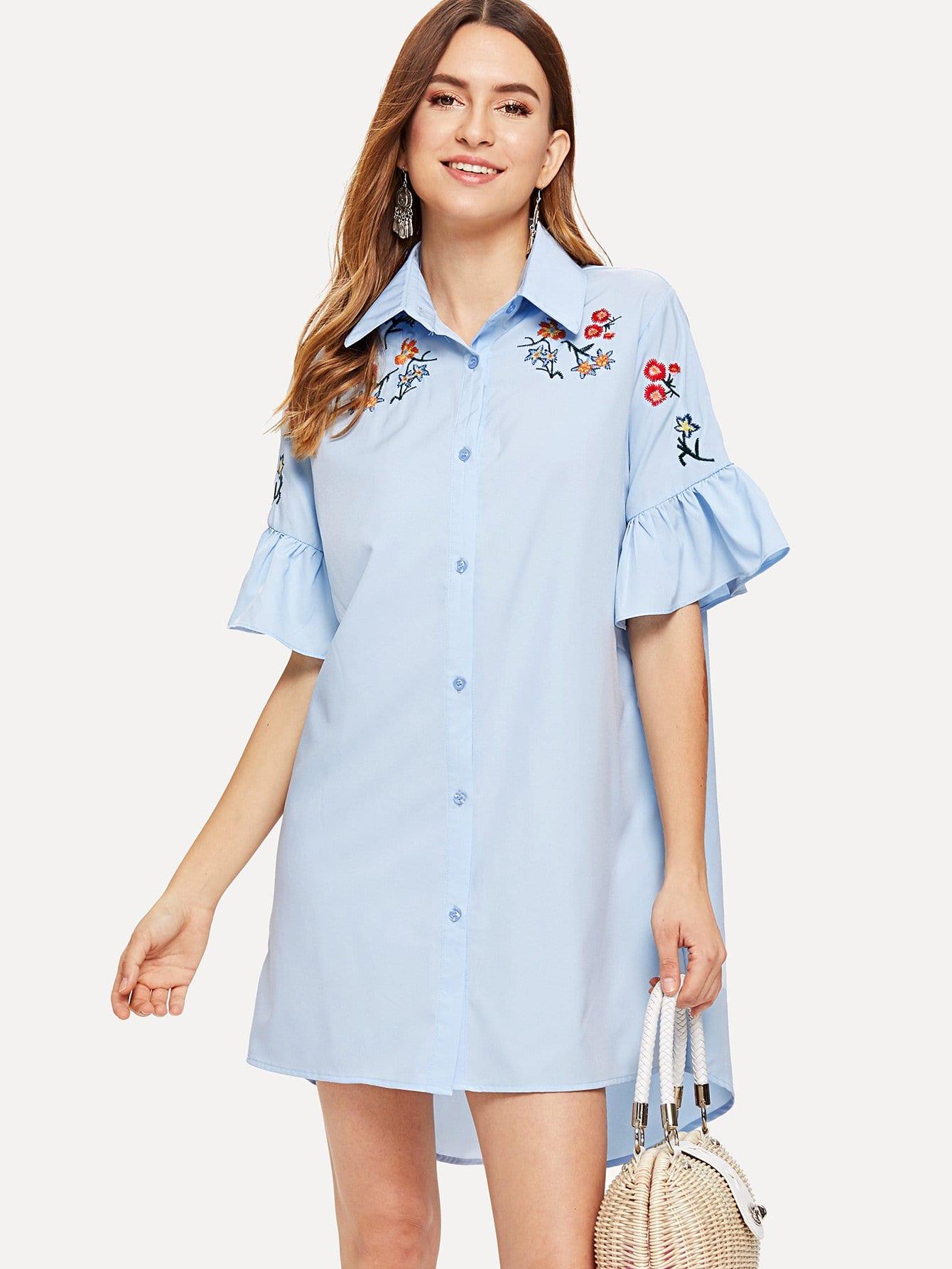 Ruffle Sleeve Embroidered Dip Hem Shirt Dress striped sleeve ruffle dip hem dress
