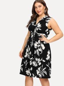 Plus Flower Print Self Tie Sleeveless Dress