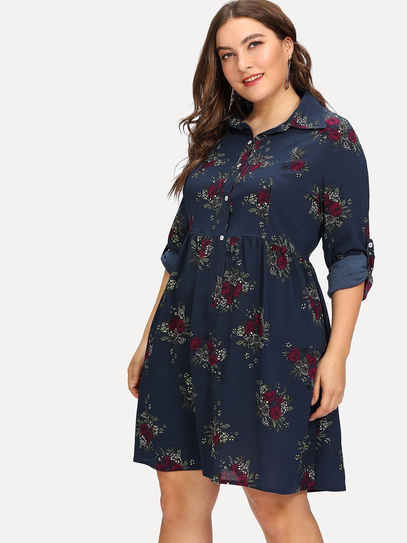 Button Placket Roll Tab Sleeve Floral Smock Dress raglan sleeve smock gingham dress