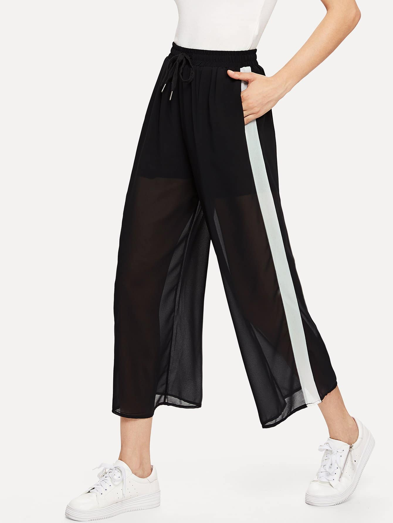 Tape Side Sheer Wide Leg Pants bow tie side wide leg pants