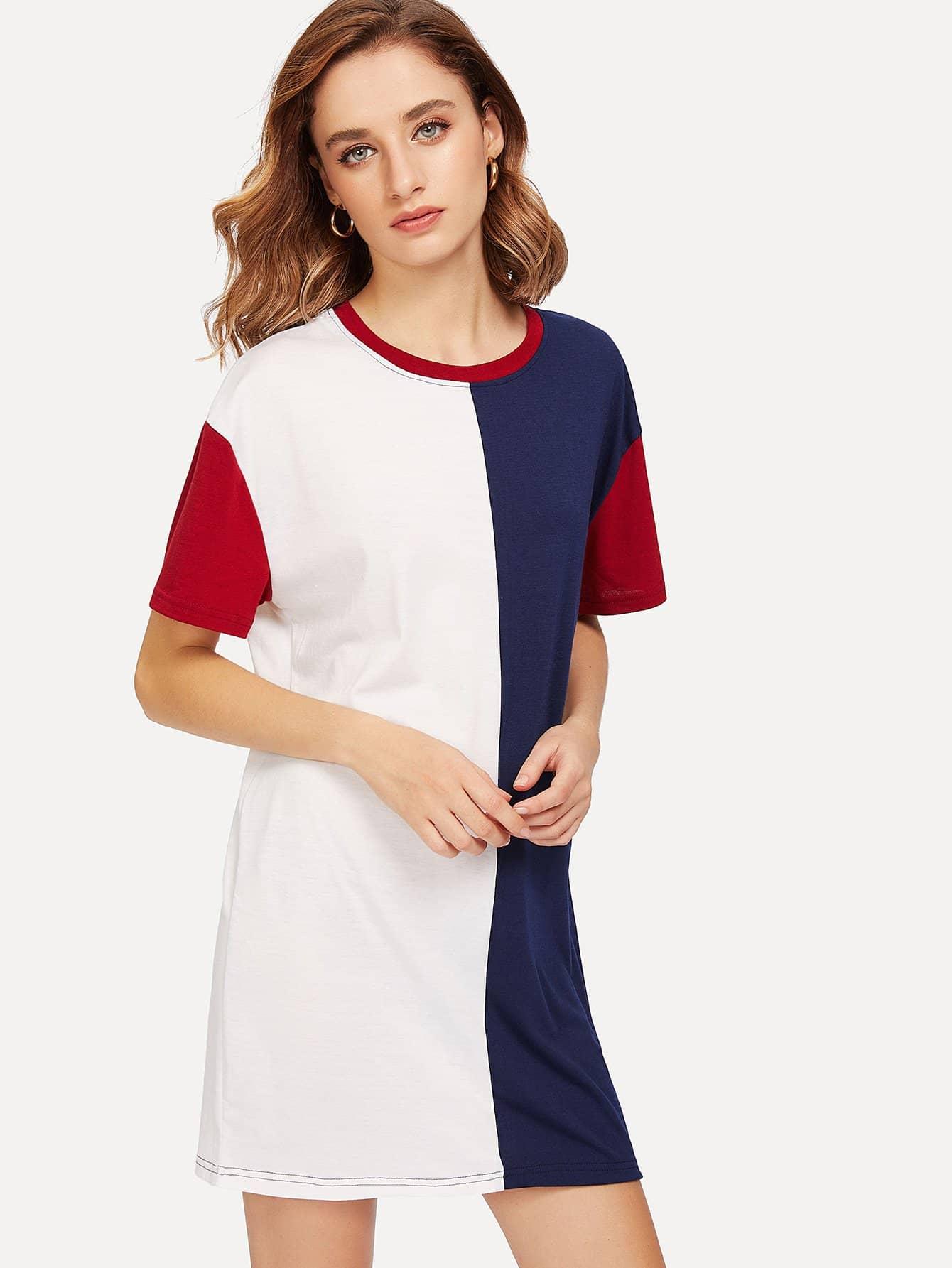 все цены на Two Tone Cut And Sew Ringer Dress