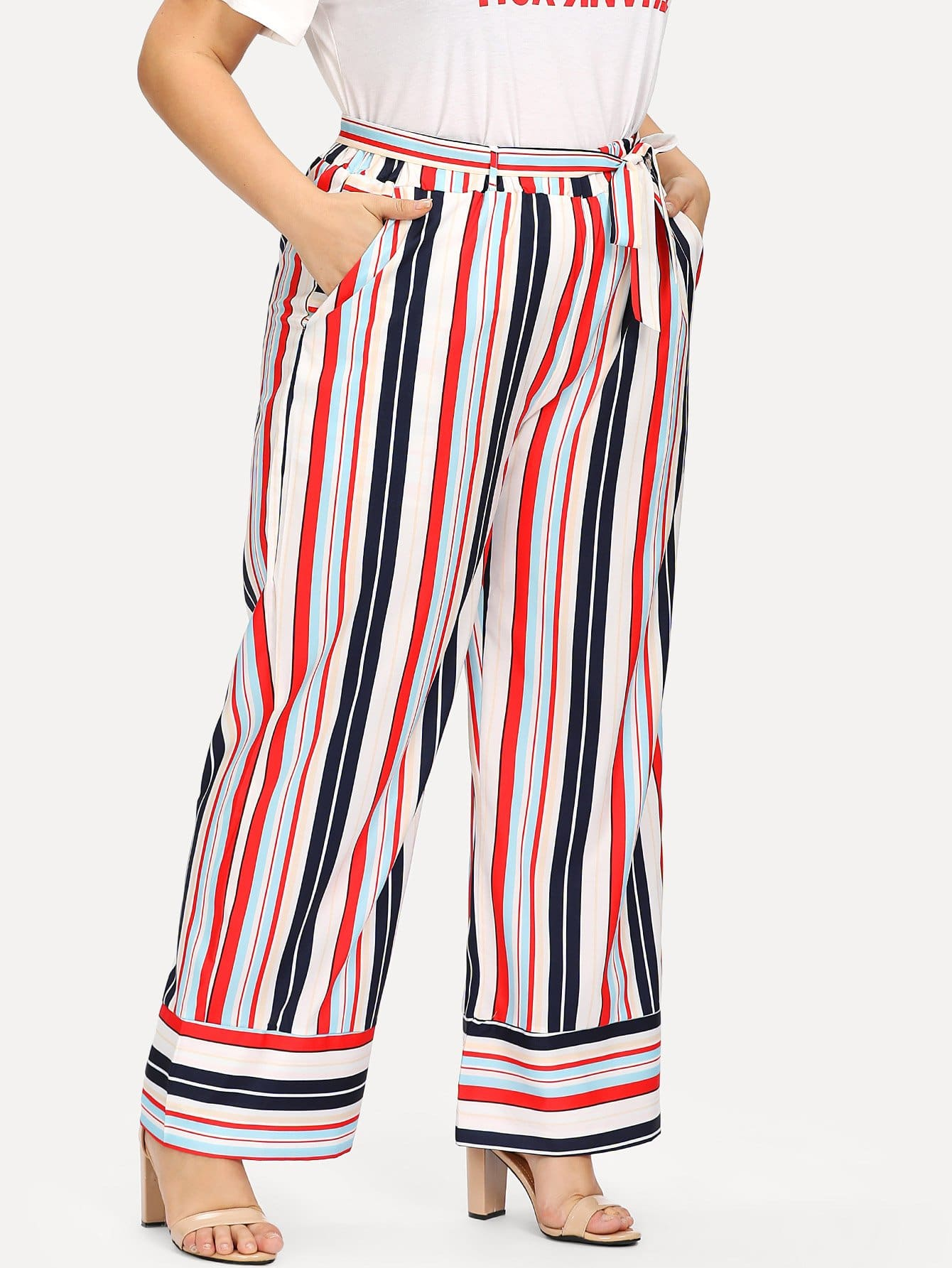 Multi Striped Tie Waist Wide Leg Pants bow tie side wide leg pants