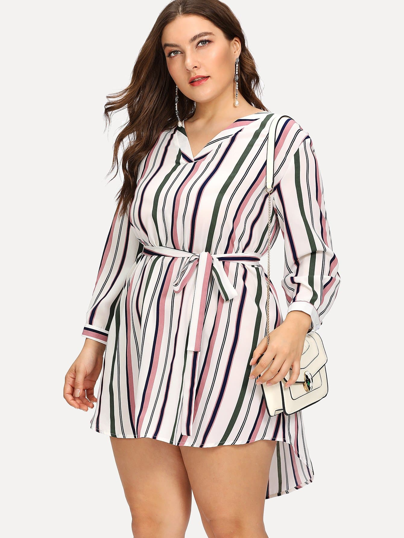 Vertical Striped Step Hem Dress met короткое платье