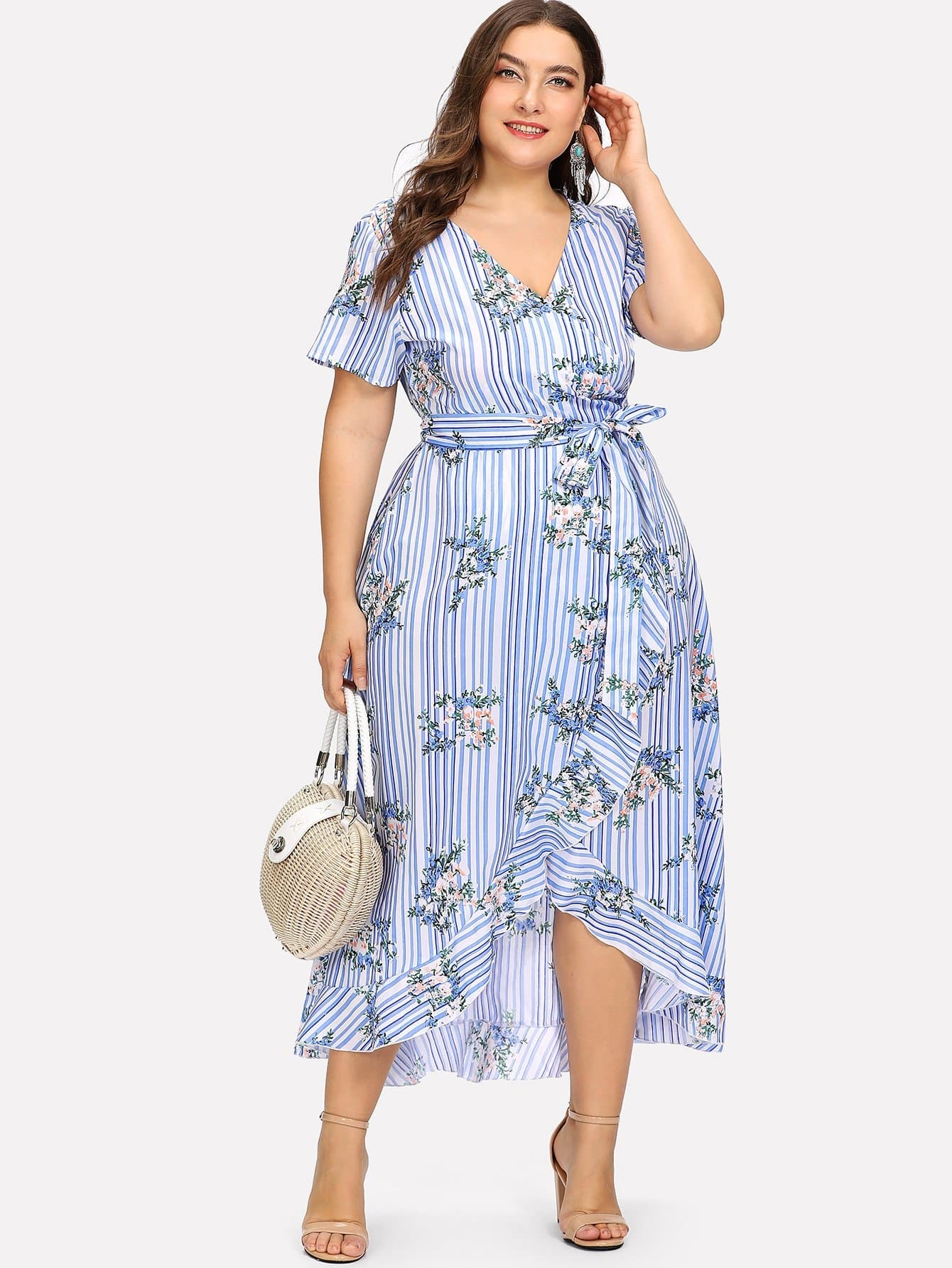 все цены на Plus Ruffle Trim Floral & Striped Wrap Dress with Belt