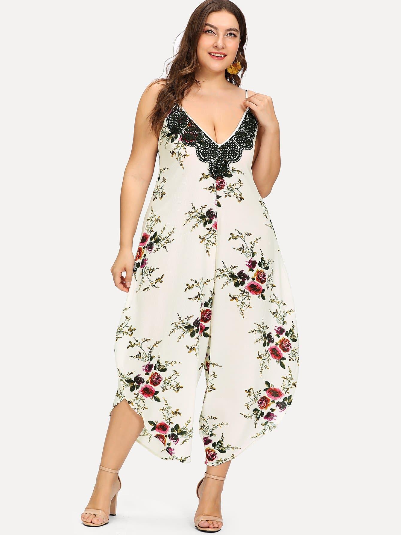 Plus Super Wide Leg Floral Cami Jumpsuit plus flower print wide leg cami jumpsuit
