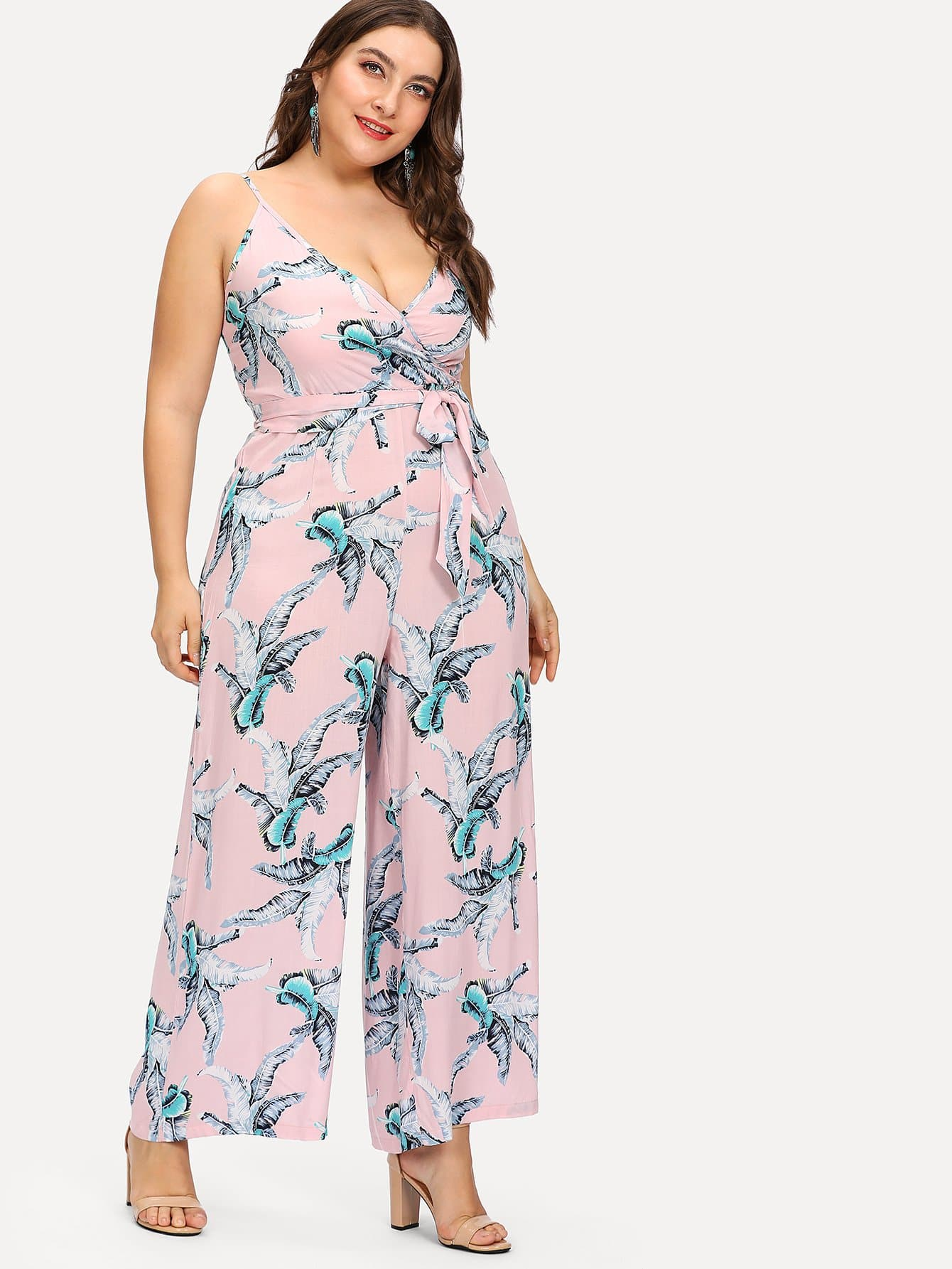 Plus Palm Leaf Print Wrap Cami Jumpsuit flamingo print wrap jumpsuit