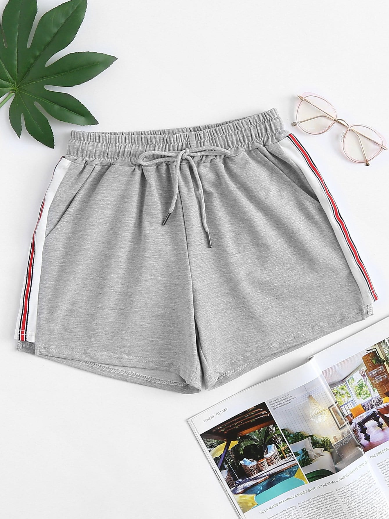 Striped Tape Side Shorts striped tape side legging shorts