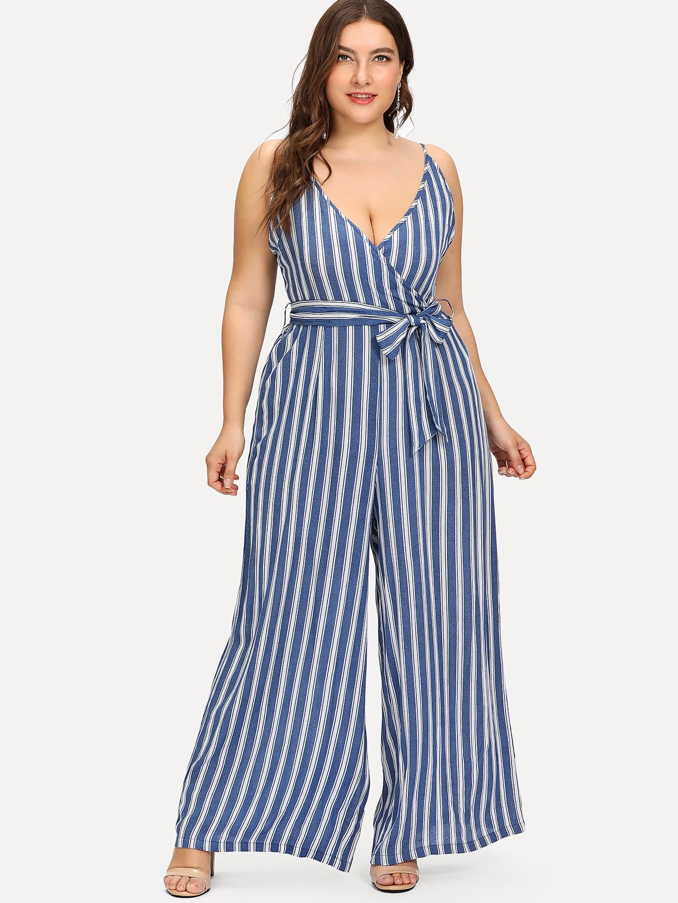 Self Tie Striped Wrap Cami Jumpsuit bow tie striped cami jumpsuit