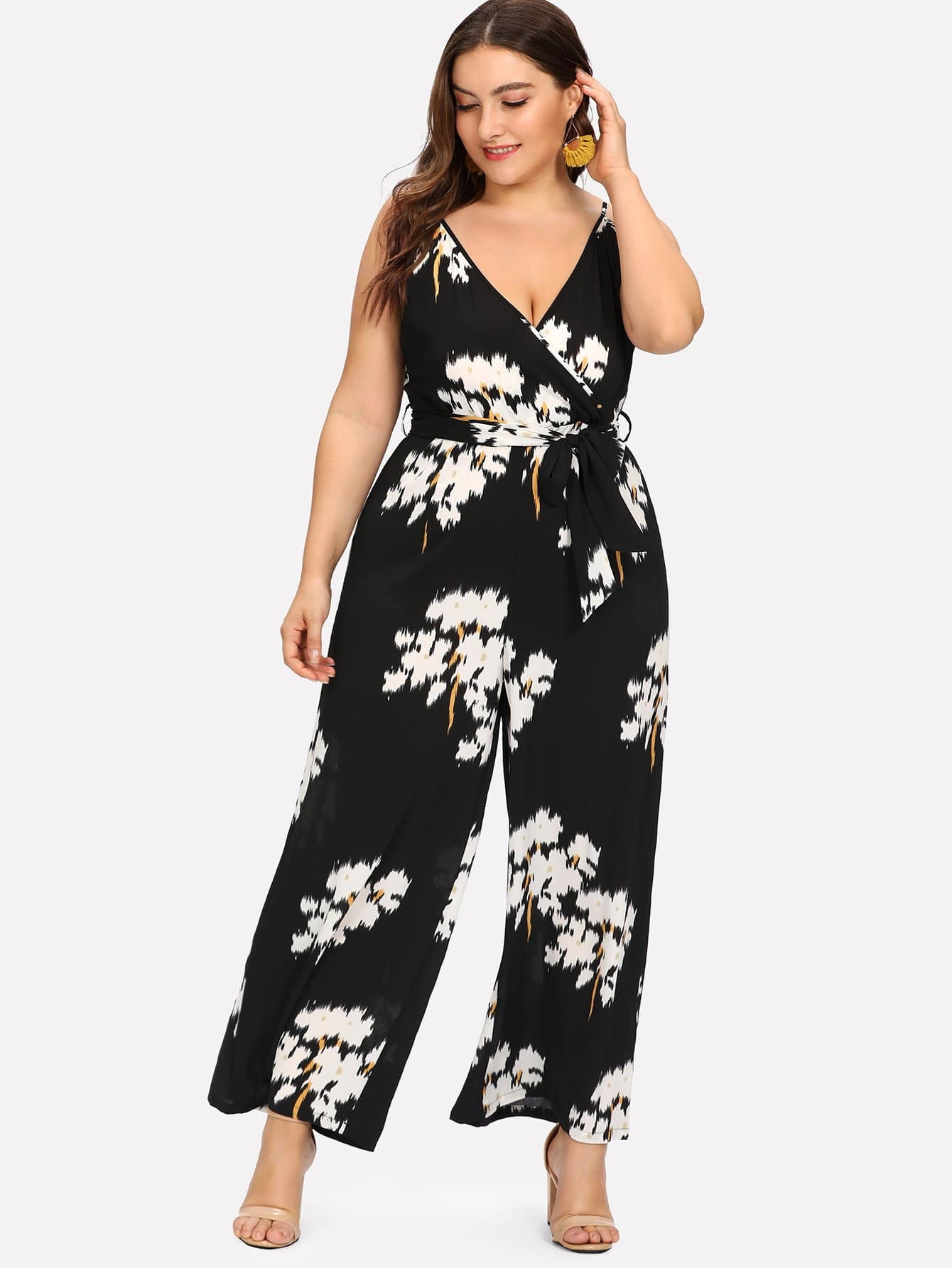 Belted Floral Wrap Cami Jumpsuit mixed print belted wrap jumpsuit