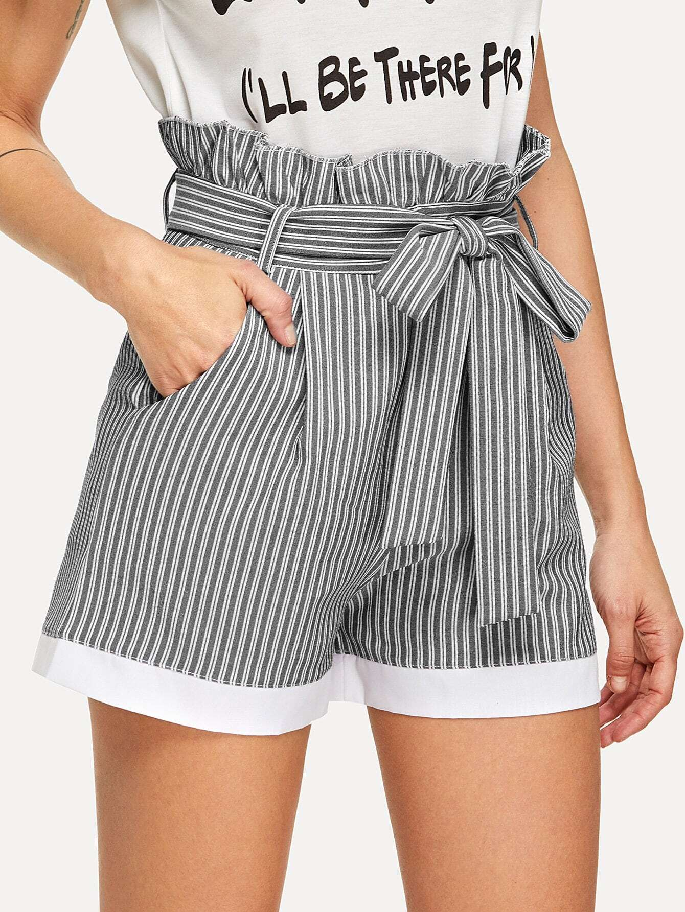 Frill Trim Self Tie Waist Striped Shorts 8 inch and 10 inch 2pcs frosted crystal singing bowls with any note c d e f g a b or any chakra of 7
