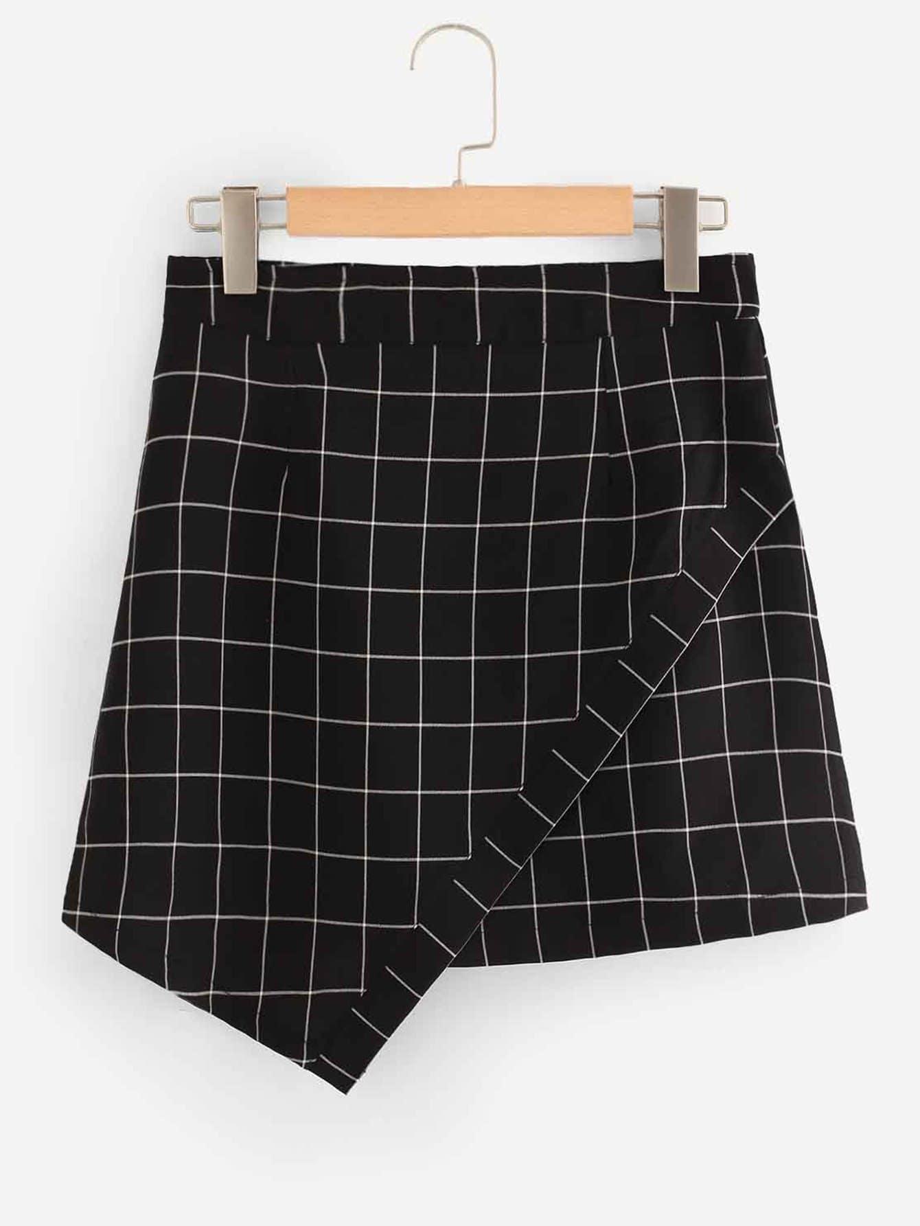 Купить Ассиметричная юбка в клетку, null, SheIn