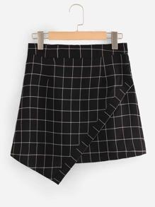 Grid Print Asymmetrical Hem Skirt
