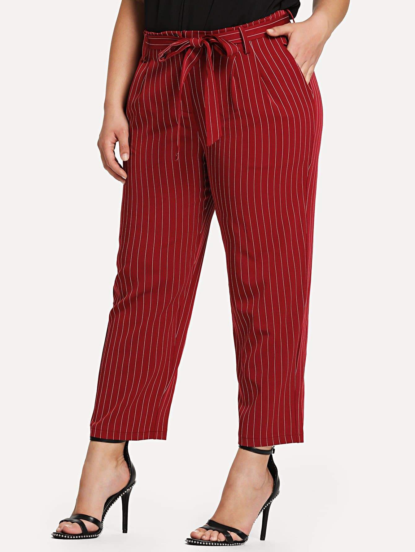 цена Self Belted Vertical Striped Tapered Pants