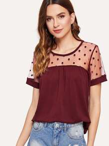Dotted Mesh Panel Tee