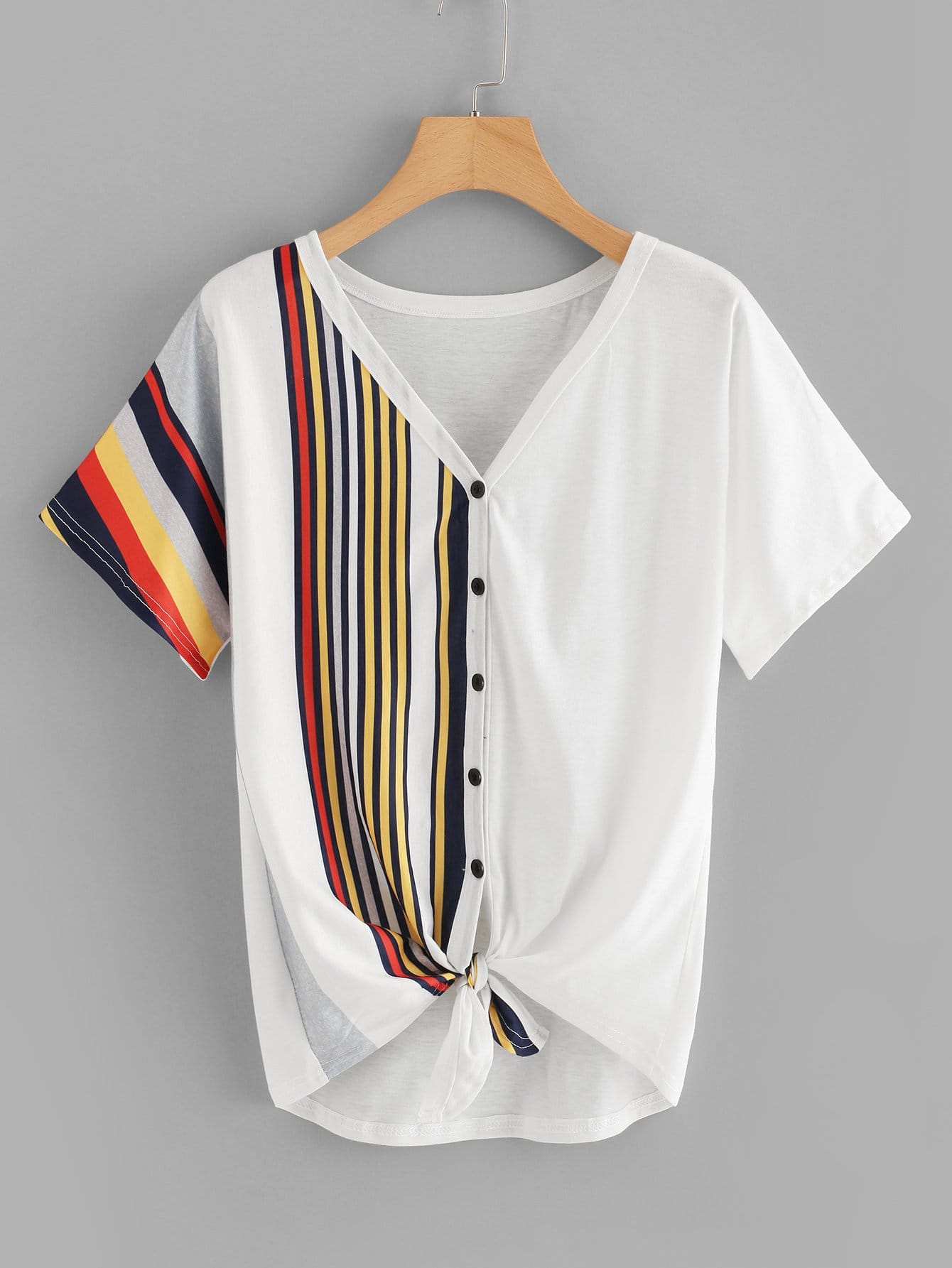 Contrast Striped Button Through Tee цена