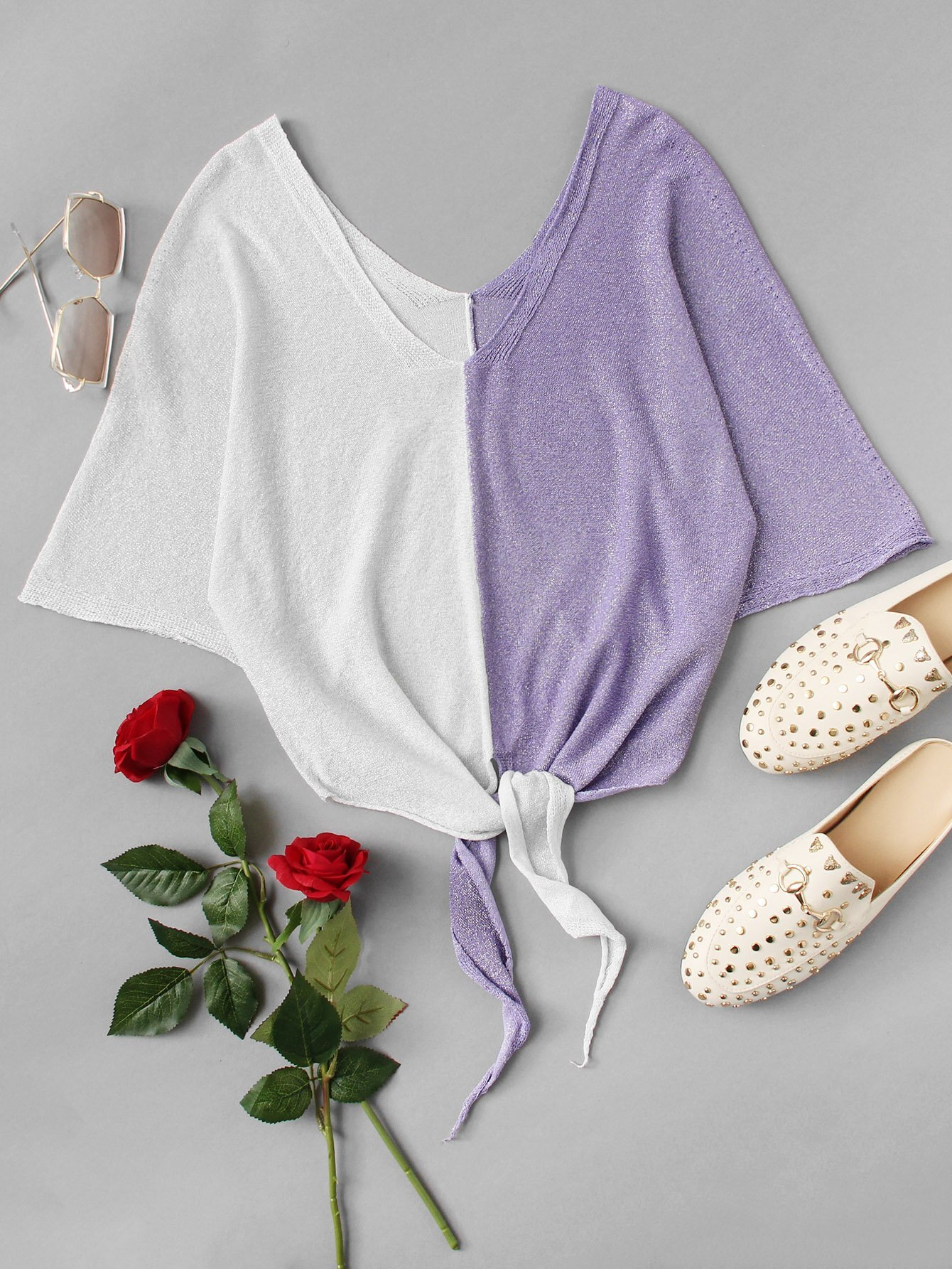 Knot Front Colorblock Knit Tee colorblock lace up tee