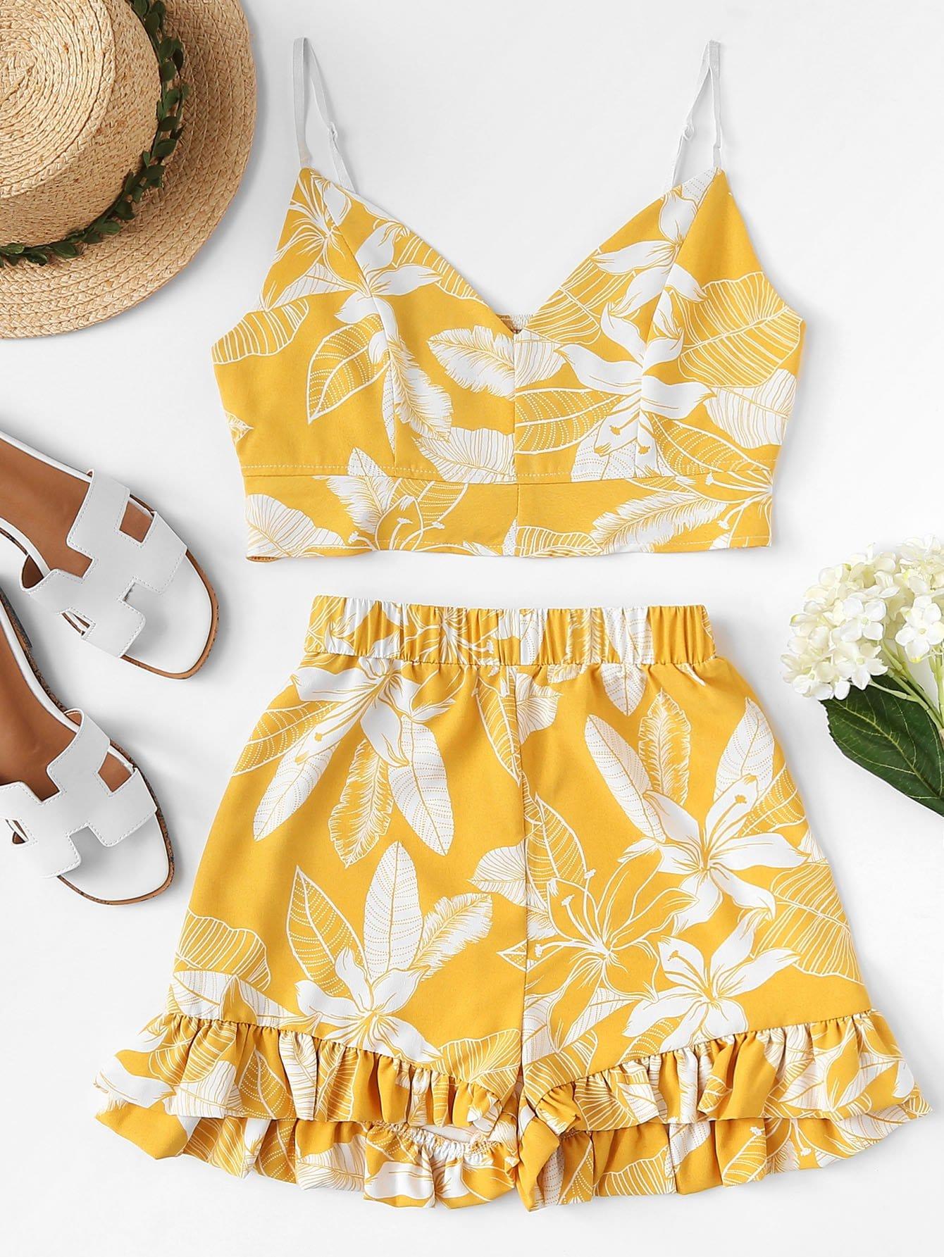 Tropical Print Cami Top With Ruffle Hem Shorts tied back ruffle hem tropical cami dress