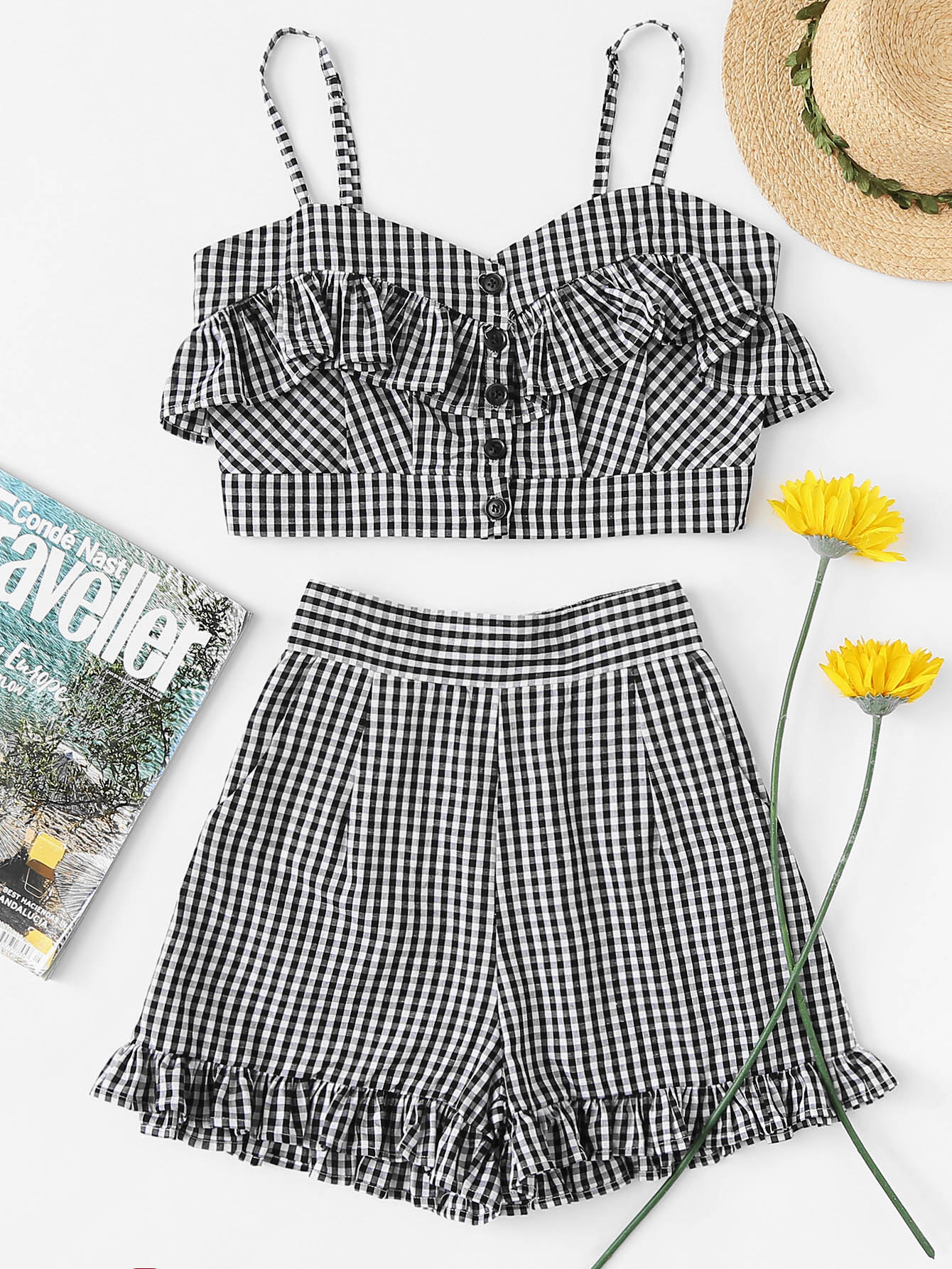 Shirred Back Ruffle Gingham Cami Top With Shorts lace up front shirred cami top with ruffle shorts set