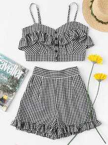 Shirred Back Ruffle Gingham Cami Top With Shorts