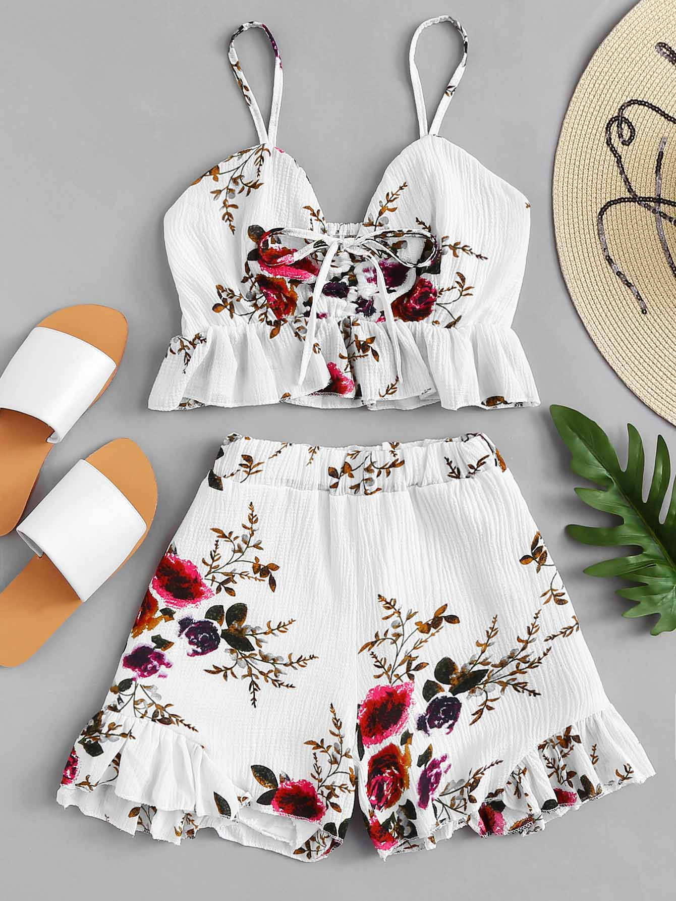 все цены на Drawstring Front Floral Print Ruffle Cami Top With Shorts