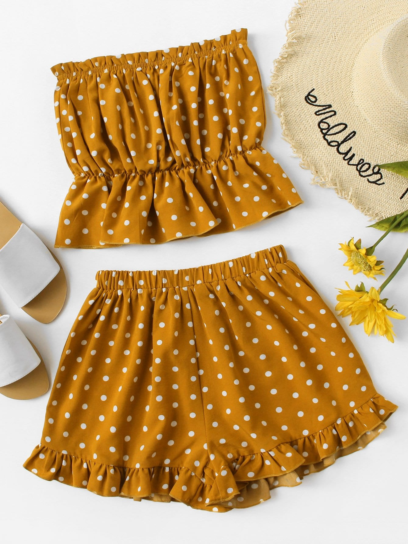 Polka Dot Bandeau Top With Frill Hem Shorts allover florals bow tie detail frill top with shorts