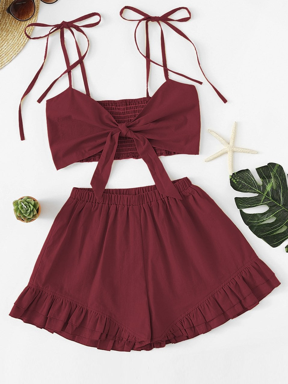 Knot Front Shirred Cami Top With Shorts knot front shirred ruffle sleeve bardot top