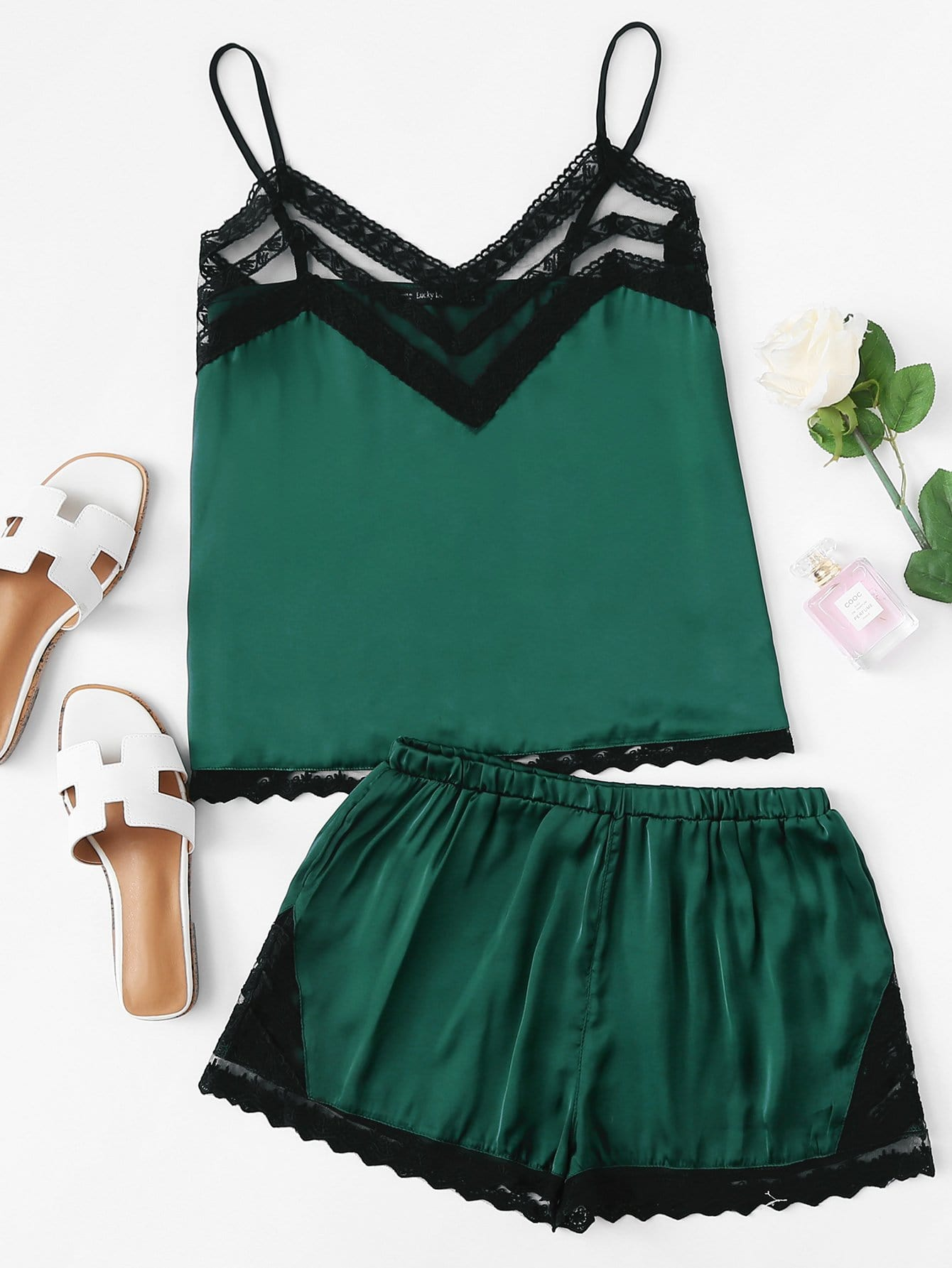 Contrast Lace Trim Cami Top With Shorts lace trim tee with shorts