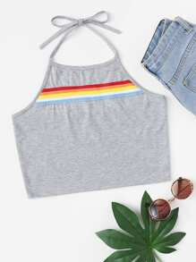 Striped Tape Halter Top