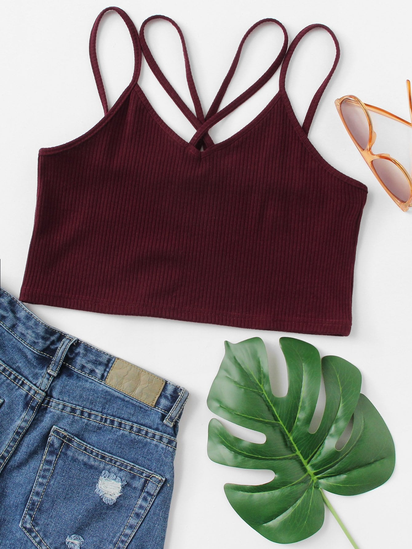 Ribbed Cross Cami Top solid ribbed cami top